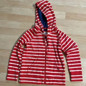 New Mini Boden Girls  Striped Terry Hoodie 7-8 Y